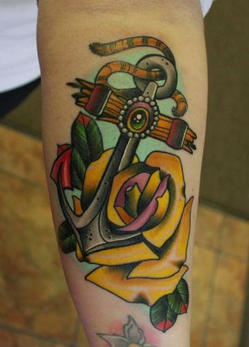 Yellow Anchor Rose Forearm Tattoo Design