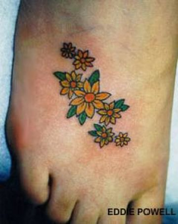 Yellow Foot Tattoo Design