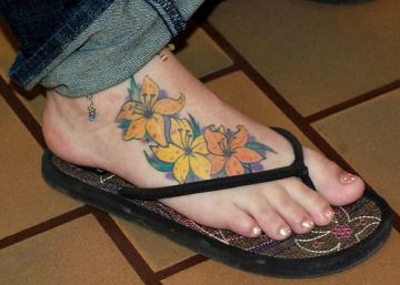 Yellow & Orange Foot Tattoo Design