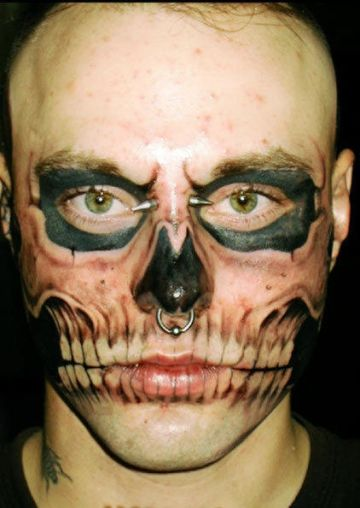 Zombie Face Tattoo Design For Men (male)