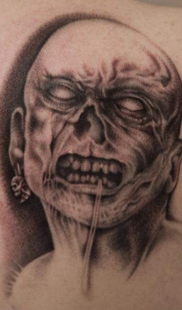 Zombie Face Tattoo Design