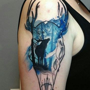 Animal Skull Deer Shoulder Tattoo Design