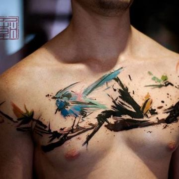 Bird Chest Tattoo Design