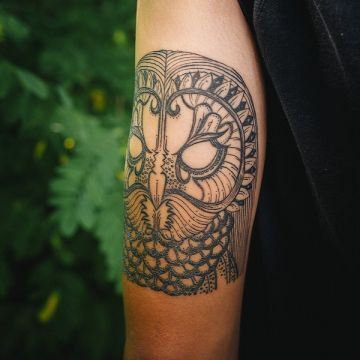 Bird Owl Sleeve Tattoo Design