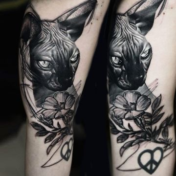Black Cat Flower Shoulder Tattoo Design