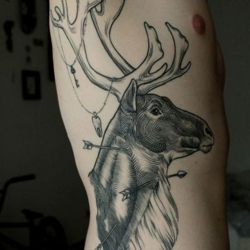 Black Deer Ribs Tattoo Design