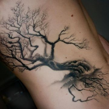 Tree Quote Ribs Tattoo Design
