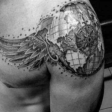 Black & White Shoulder Tattoo Design