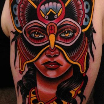 Butterfly Mask Shoulder Tattoo Design For Women (female)