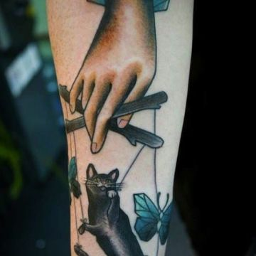 Cat Hand, Forearm Tattoo Design
