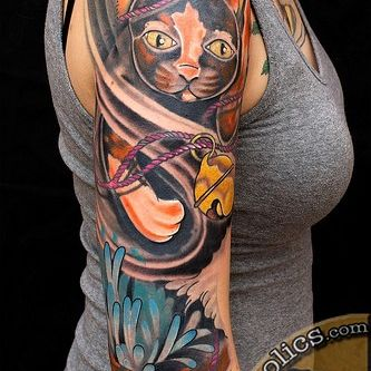 Cat Shoulder Tattoo Design