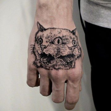 Cat Tree Hand Tattoo Design