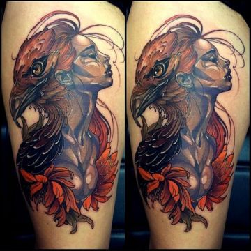 Eagle Thigh, Head Tattoo Design For Women (female)