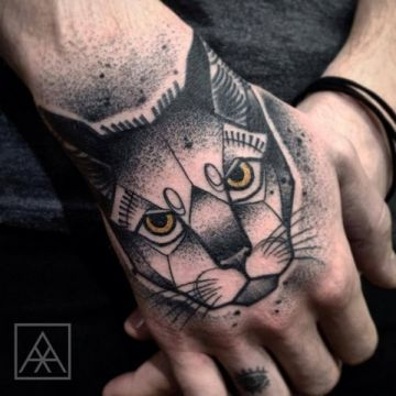 Evil Cat Hand, Head Tattoo Design