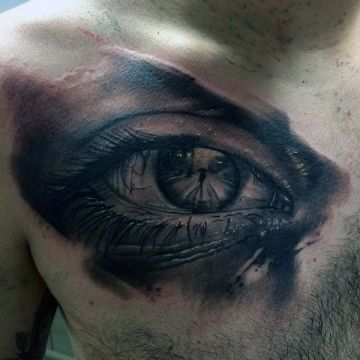 Eye Chest Tattoo Design For Women (female)