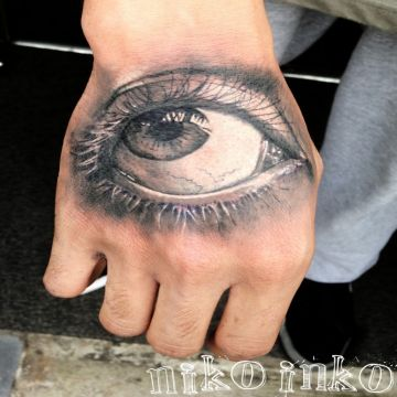 Eye Hand Tattoo Design For Women (female)