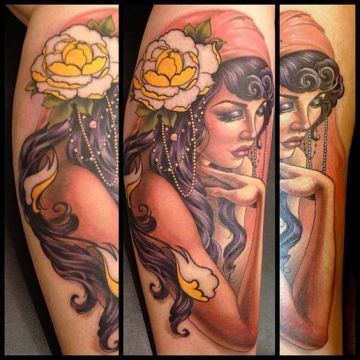Flower Leg Tattoo Design For Women (female)
