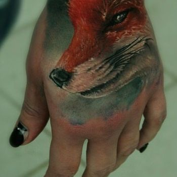 Fox Hand Tattoo Design