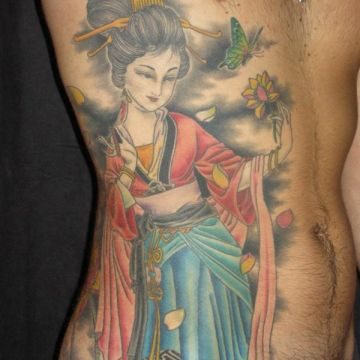 Geisha Flower Ribs Tattoo Design