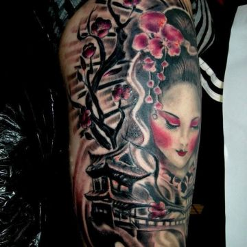 Geisha Tree Shoulder Tattoo Design For Women (female)