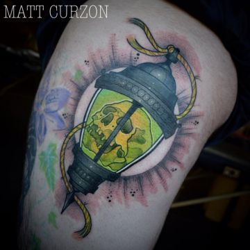 Green Skull Shoulder Tattoo Design