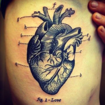 Heart Ribs Tattoo Design For Women (female)