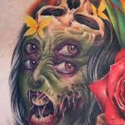 Monster Zombie Face Tattoo Design For Women (female)