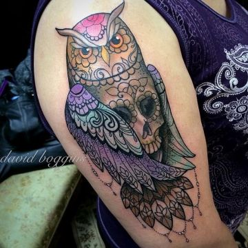 Owl Skull Sleeve Tattoo Design