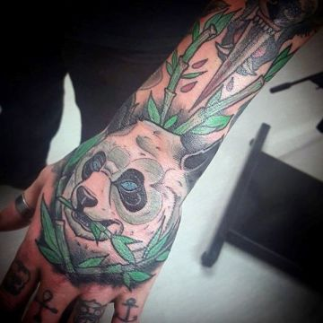 Panda Bamboo Hand Tattoo Design