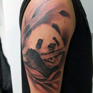 Panda Bear Bamboo Shoulder Tattoo Design