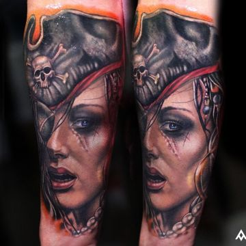 Pirate Forearm Tattoo Design For Women (female)