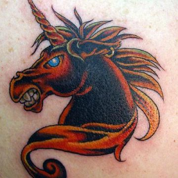 Red Unicorn Tattoo Design