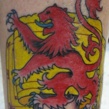 Red & Yellow Lion Flag Tattoo Design