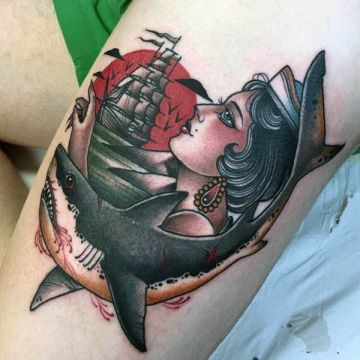 Sailor Shark Ship Thigh Tattoo Design For Women (female)
