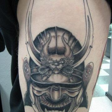 Samurai Warrior Thigh Tattoo Design