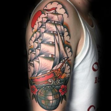 Ship Shoulder Tattoo Design