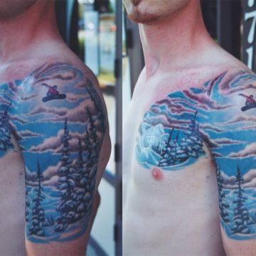 Shoulder, Chest Tattoo Design