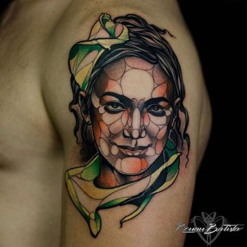 Shoulder, Face Tattoo Design For Women (female)
