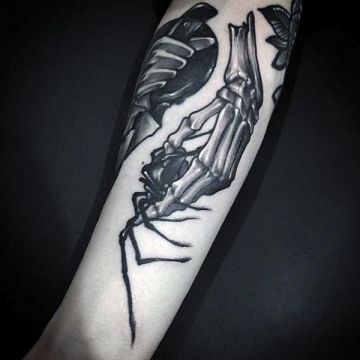 Skeleton Spider Hand Tattoo Design