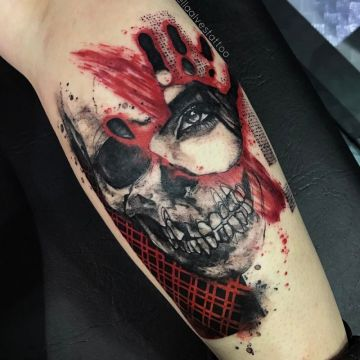 Skull Hand, Leg Tattoo Design