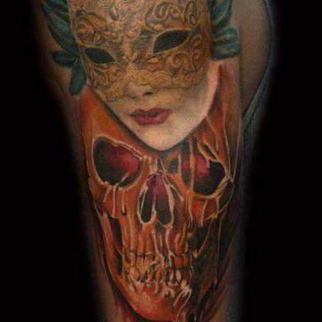 Skull Shoulder Tattoo Design For Women (female)