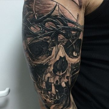 Skull Hand, Forearm Tattoo Design