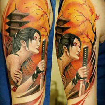 Sword Shoulder Tattoo Design For Women (female)