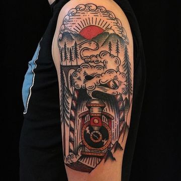 Train Sun Shoulder Tattoo Design