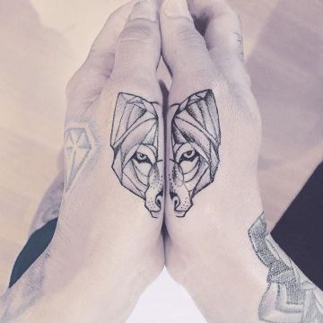 Wolf Hand, Head Tattoo Design