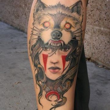 Wolf Leg Tattoo Design For Women (female)