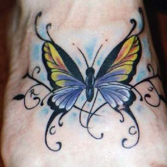 Yellow Butterfly Foot Tattoo Design