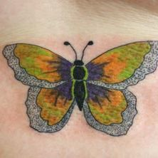Yellow Butterfly Tattoo Design