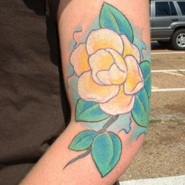 Yellow Flower Arm Tattoo Design