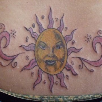 Yellow & Pink Sun Back Tattoo Design